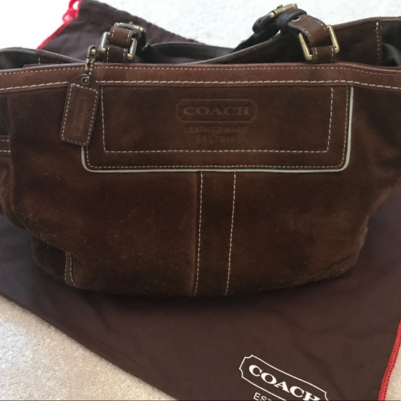 14e1d7322cc18 ... sweden coach brown suede gallery tote with dust bag 7d19c 9b494
